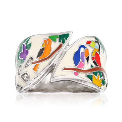 "Belle Etoile ""Tropical Rainforest"" Ivory and Multicolored Enamel Ring with CZ Accents in Sterling Silver"