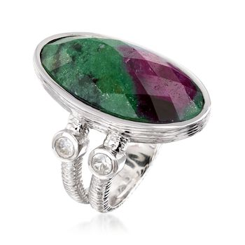 16.00 Carat Ruby-In-Zoisite and .60 ct. t.w. White Zircon Ring in Sterling Silver. Size 7, , default