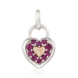 .40 ct. t.w. Rhodolite Garnet Heart-Shaped Pendant in Sterling Silver and 14kt Rose Gold, , default