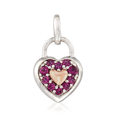 .40 ct. t.w. Rhodolite Garnet Heart-Shaped Pendant in Sterling Silver and 14kt Rose Gold, , default