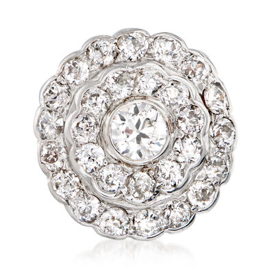 C. 1950 Vintage 3.40 ct. t.w. Diamond Cluster Ring in Platinum and 14kt Yellow Gold