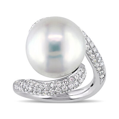 14-14.5mm Cultured Pearl and 1.05 ct. t.w. Diamond Twist Ring in 14kt White Gold, , default