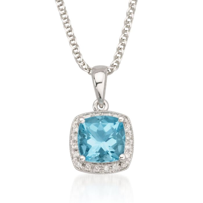 1.65 Carat Blue Topaz Necklace with Diamonds in 14kt White Gold. 18""