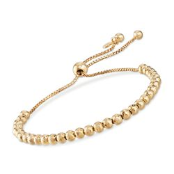 Italian 4mm 18kt Yellow Gold Over Sterling Silver Bead Bolo Bracelet, , default