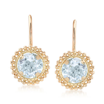 1.10 ct. t.w. Blue Topaz Beaded Drop Earrings in 14kt Yellow Gold, , default