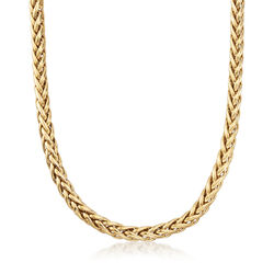 "C. 1990 Vintage 14kt Yellow Gold Wheat Chain Necklace. 20"", , default"