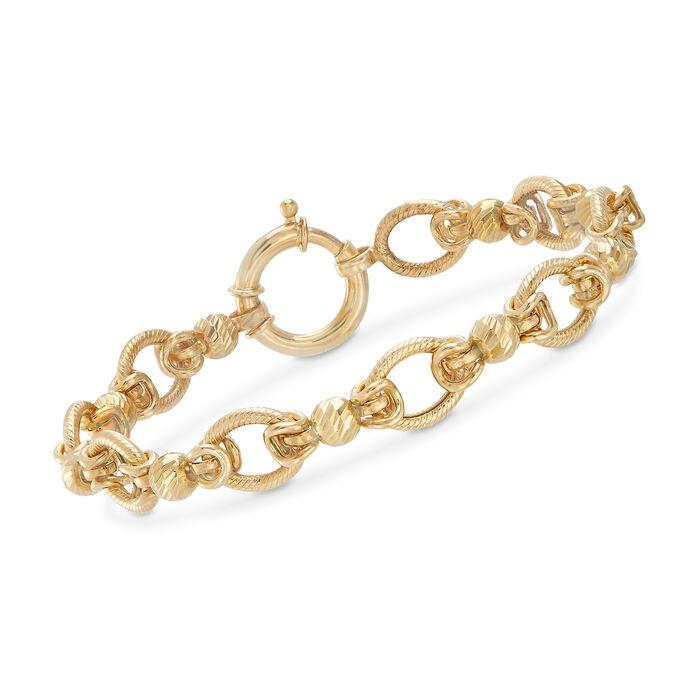 """14kt Yellow Gold Oval-Link Bead Station Bracelet. 7"""", , default"""