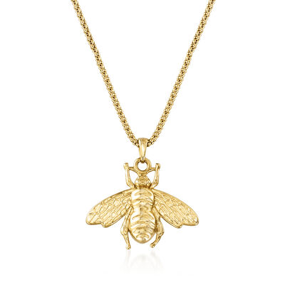 Italian 18kt Gold Over Sterling Bumblebee Pendant Necklace, , default