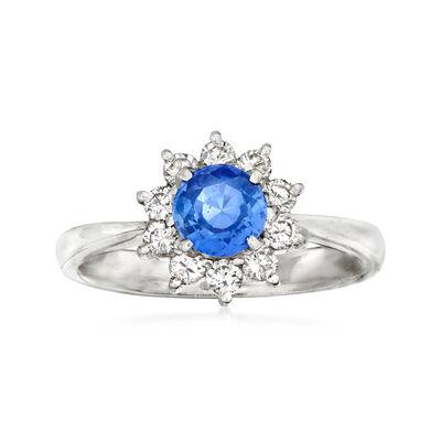 C. 1990 Vintage .79 Carat Sapphire and .35 ct. t.w. Diamond Ring in Platinum