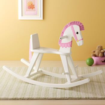 Infant-To-Child Wooden Convertible Pink Rocking Horse, , default