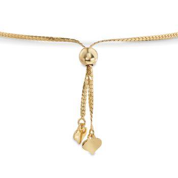 4-9mm 18kt Gold Over Sterling Silver Bead Bolo Bracelet, , default