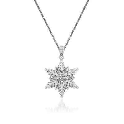 14kt White Gold Snowflake Pendant Necklace, , default