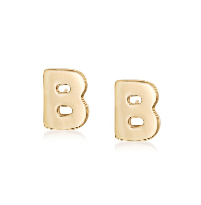 14kt Yellow Gold Over Sterling Silver Block Initial Stud Earrings