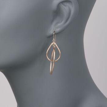 14kt Yellow Gold Open Double Drop Dangle Earrings, , default
