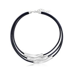 Sterling Silver Multi-Bar Collar Necklace With Black Leather Cords, , default