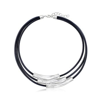 """Sterling Silver Multi-Bar Collar Necklace With Black Leather Cords. 18.5"""", , default"""