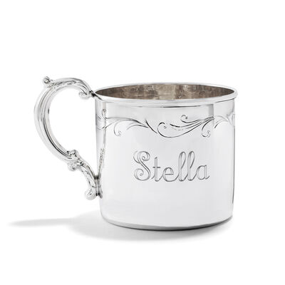 Empire Baby's Sterling Silver Floral Personalized Etched Cup, , default