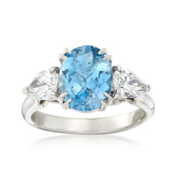 C. 1990 Vintage 2.05 ct. t.w. Aquamarine and .90 ct. t.w. Diamond Ring in Platinum, , default