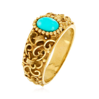C. 1980 Vintage Turquoise Ring in 18kt Yellow Gold. Size 7.5, , default