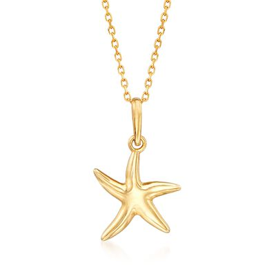 18kt Yellow Gold Starfish Pendant Necklace, , default