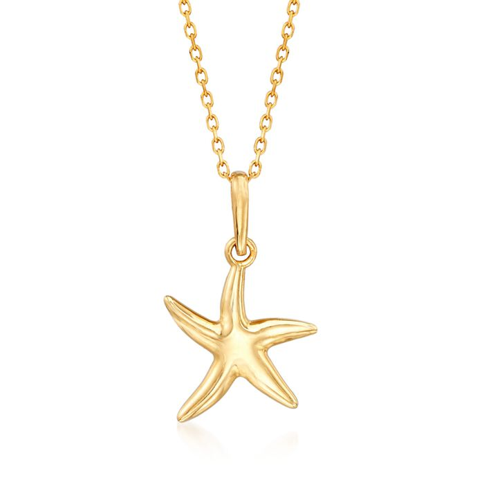 "18kt Yellow Gold Starfish Pendant Necklace. 18"", , default"