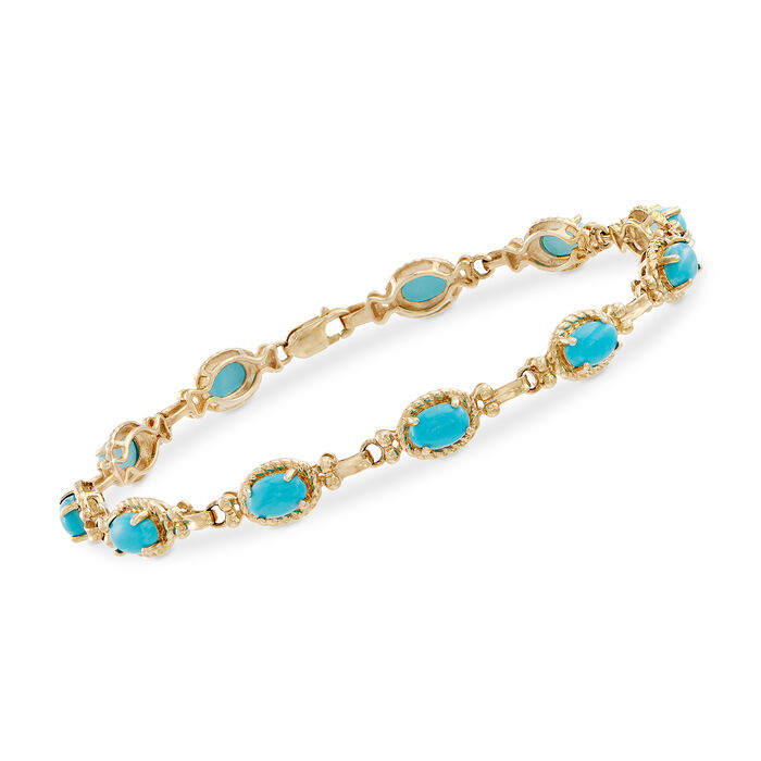 Oval Turquoise Bracelet in 14kt Yellow Gold. 7""