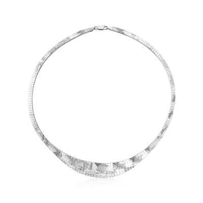 Italian Sterling Silver Diamond-Cut Omega Necklace, , default