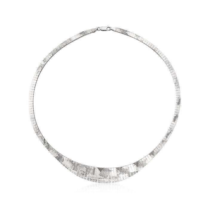 "Italian Sterling Silver Diamond-Cut Omega Necklace. 18"", , default"