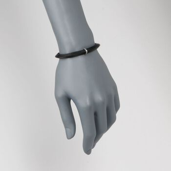 "ALOR ""Noir"" Black Cable Station Bracelet With Diamond Accents and 18kt White Gold. 6.25"", , default"