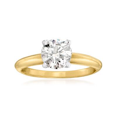 C. 1980 Vintage .98 Carat Diamond Ring in 14kt Yellow Gold