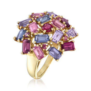 C. 1990 Vintage 2.96 ct. t.w. Multi-Gemstone Cluster Ring in 14kt White Gold. Size 6, , default