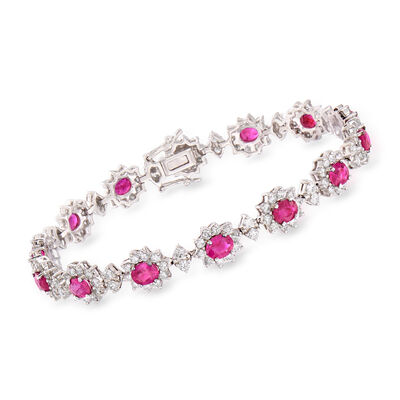 5.75 ct. t.w. Ruby and 4.65 ct. t.w. Diamond Flower Bracelet in 18kt White Gold