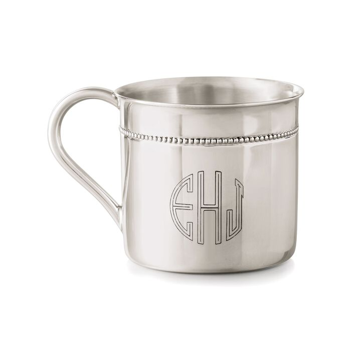 """Reed & Barton """"Hampshire"""" Baby's Sterling Silver Personalized Beaded Cup"""