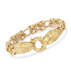 Italian 24kt Gold Over Sterling Silver Double Lion Head Link Bracelet, , default