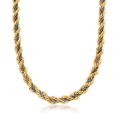C. 1990 Vintage 14kt Two-Tone Gold Twisted Rope Chain