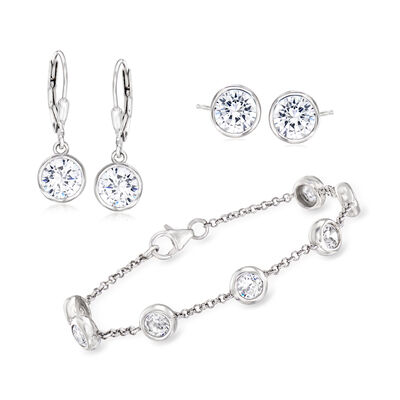 8.29 ct. t.w. CZ Jewelry Set: Station Bracelet, Stud and Leverback Drop Earrings in Sterling Silver, , default