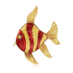 C. 1980 Vintage Red Enamel Fish Pin in 18kt Yellow Gold , , default