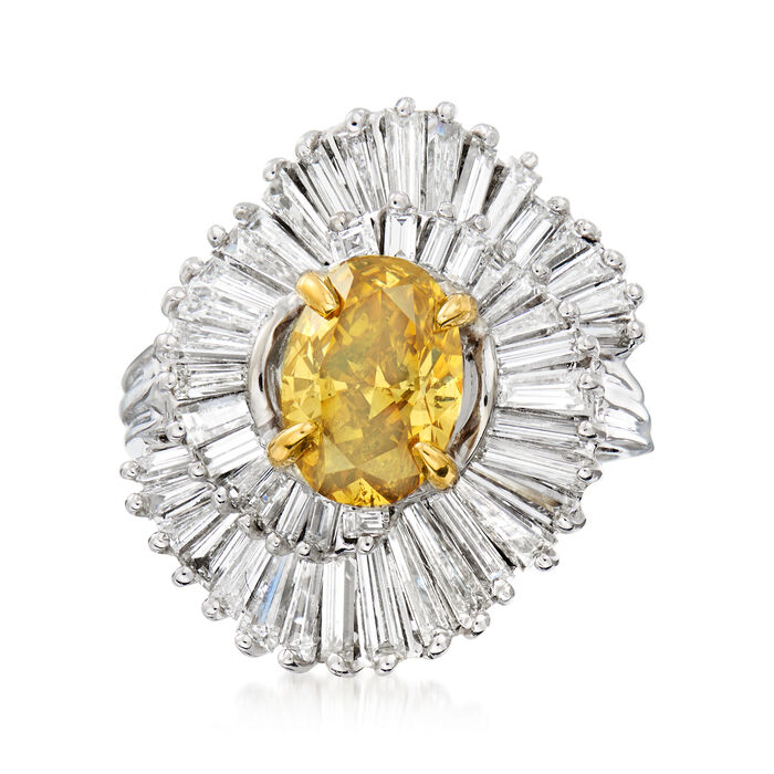 C. 2000 Vintage 2.04 Carat Certified Yellow Diamond and 3.50 ct. t.w. White Diamond Cocktail Ring in 14kt and 18kt Two-Tone Gold. Size 7