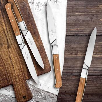 """Argent Orfevres """"Lynden"""" Olive Wood 4-pc. 18/10 Stainless Steel Steak Knife Set, , default"""