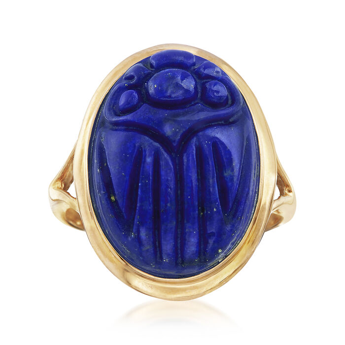 18x13mm Lapis Scarab Ring in 14kt Yellow Gold, , default
