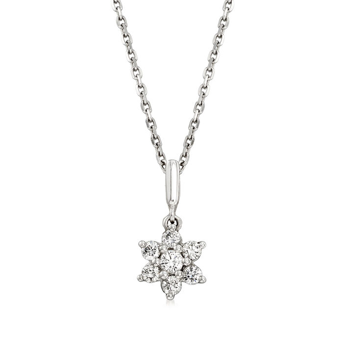 "C. 1990 Vintage .25 ct. t.w. Diamond Flower Pendant Necklace in 18kt White Gold. 15.5"", , default"