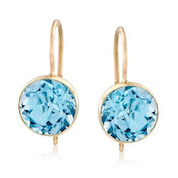 4.20 ct. t.w. Blue Topaz Drop Earrings in 14kt Yellow Gold, , default