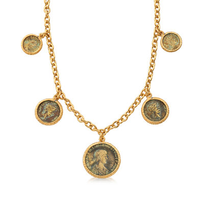 Italian Multi-Bronze Coin Necklace in 18kt Gold Over Sterling, , default
