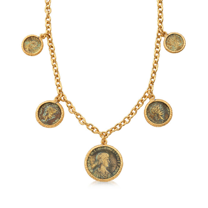 """Italian Multi-Bronze Coin Necklace in 18kt Gold Over Sterling. 18"""", , default"""
