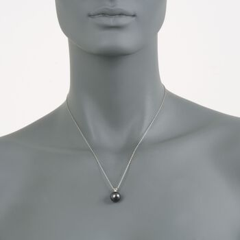 "11mm Black Cultured Pearl Pendant Necklace With Diamond in 14kt White Gold. 18"", , default"