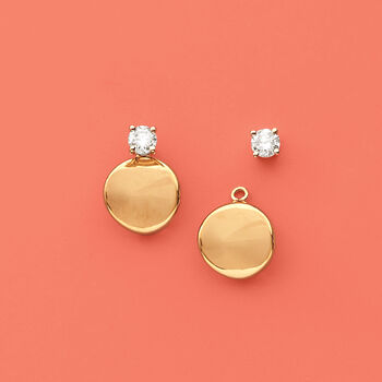14kt Yellow Gold Concave Petite Disc Drop Earring Jackets , , default