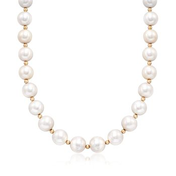 """12-15mm Cultured Pearl Necklace With 14kt Yellow Gold. 18"""", , default"""