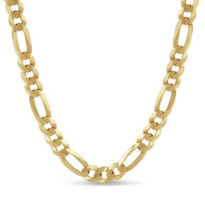Italian Men's 8.1mm 18kt Gold Over Sterling Figaro Chain