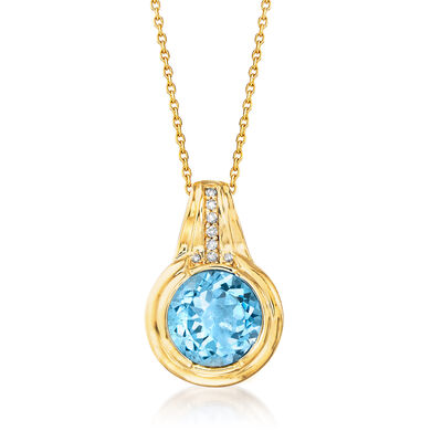 3.90 Carat Sky Blue Topaz Pendant Necklace with Diamond Accents in 14kt Yellow Gold