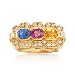 C. 1990 Vintage 2.38 ct. t.w. Multicolored Sapphire and .95 ct. t.w. Diamond Ring in 18kt Yellow Gold. Size 6, , default